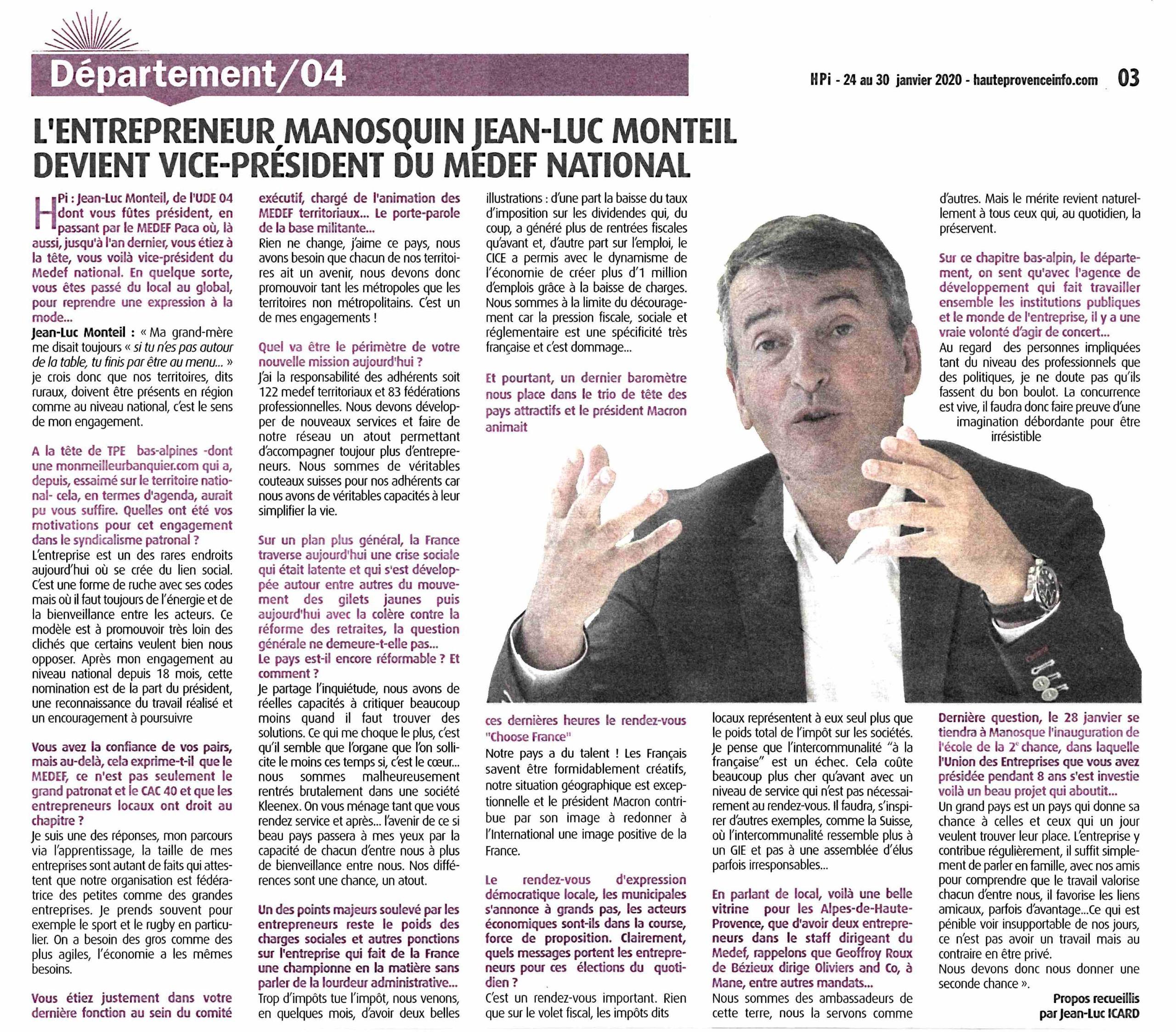 L'Entrepreneur manosquin Jean-Luc Monteil devient vice-président du Medef national
