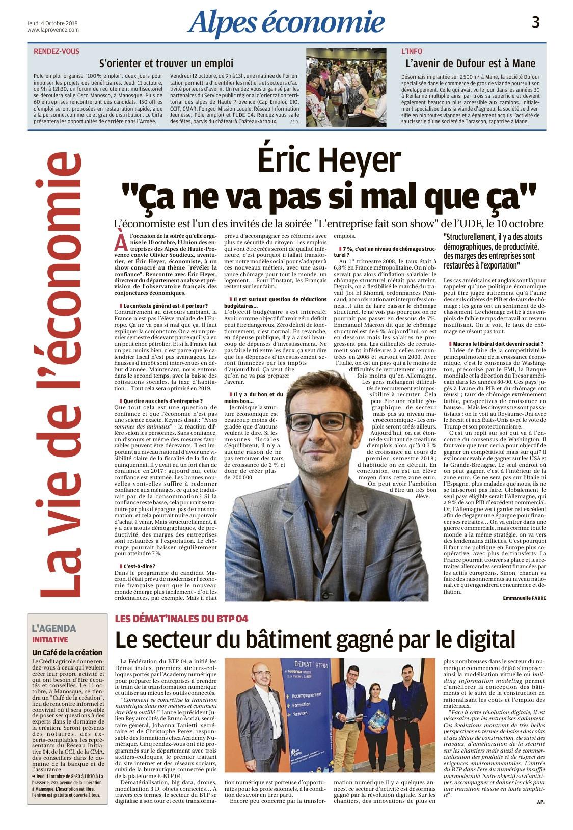 Interview Eric Heyer La Provence_0410