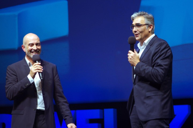 Denis Vogade et Didier Long lors de la soirée de l'UDE 04.